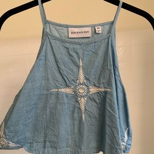 Chambray embroidered crop top